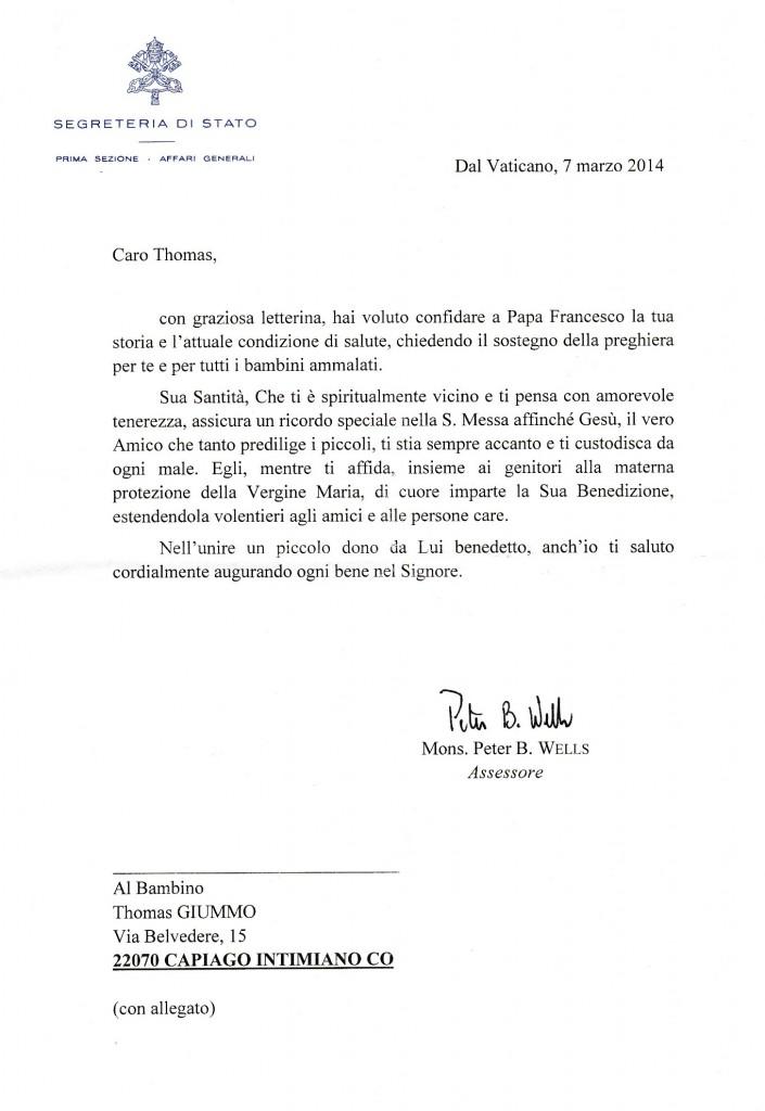 lettera di risposta del Papa
