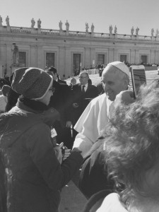 Melissa Bossi con Papa Francesco