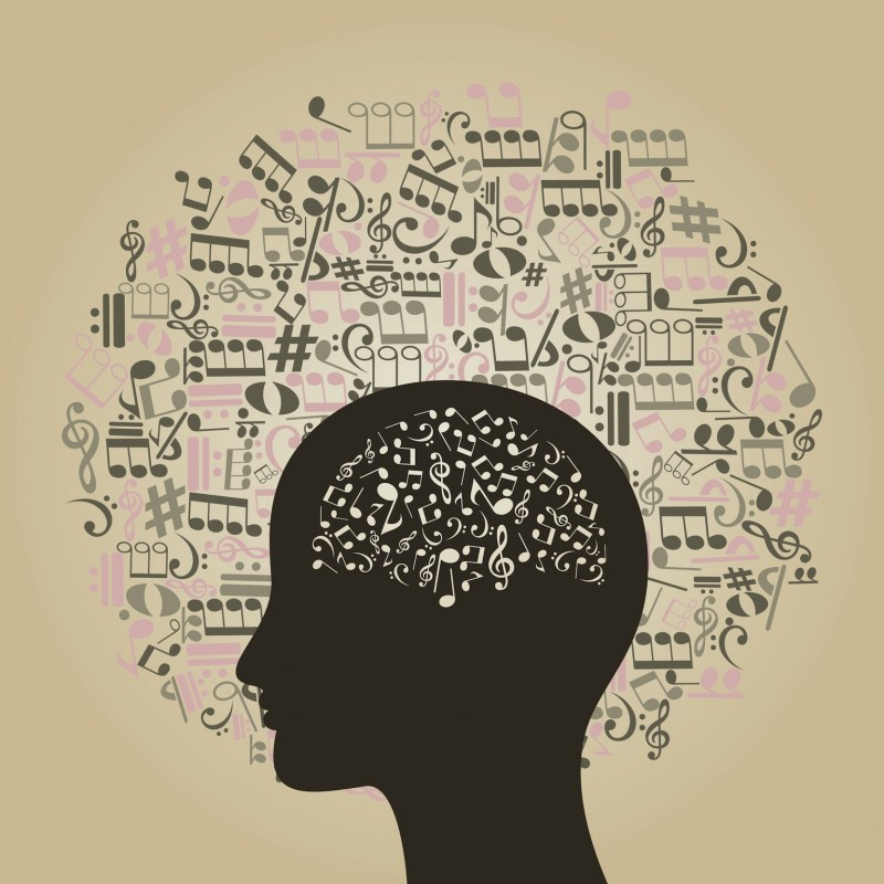 Musical notes round a head of the person. A vector illustration